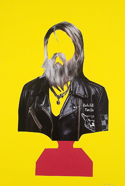 Bust for Baldessari [2011] paper collage